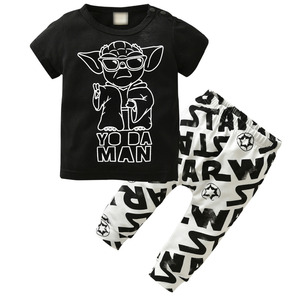 2020 Summer Newborn Baby Boys Clothing Set Short-sleeved Black Baby Boy Clothes Children Printed T-shirt+Pants Kids 2pcs Set(China)