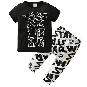 2020 lato noworodek chłopcy odzież zestaw z krótkim rękawem czarny Baby Boy ubrania dla dzieci koszulka z nadrukiem + spodnie dla dzieci 2 szt Zestaw tanie i dobre opinie EGHUNOOY COTTON Moda O-neck Zestawy Swetry REGULAR Pasuje prawda na wymiar weź swój normalny rozmiar Czesankowej Vest