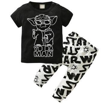Conjunto de ropa de verano 2020 para recién nacidos y niños de manga corta, Conjunto de camiseta y pantalones de 2 uds para niños