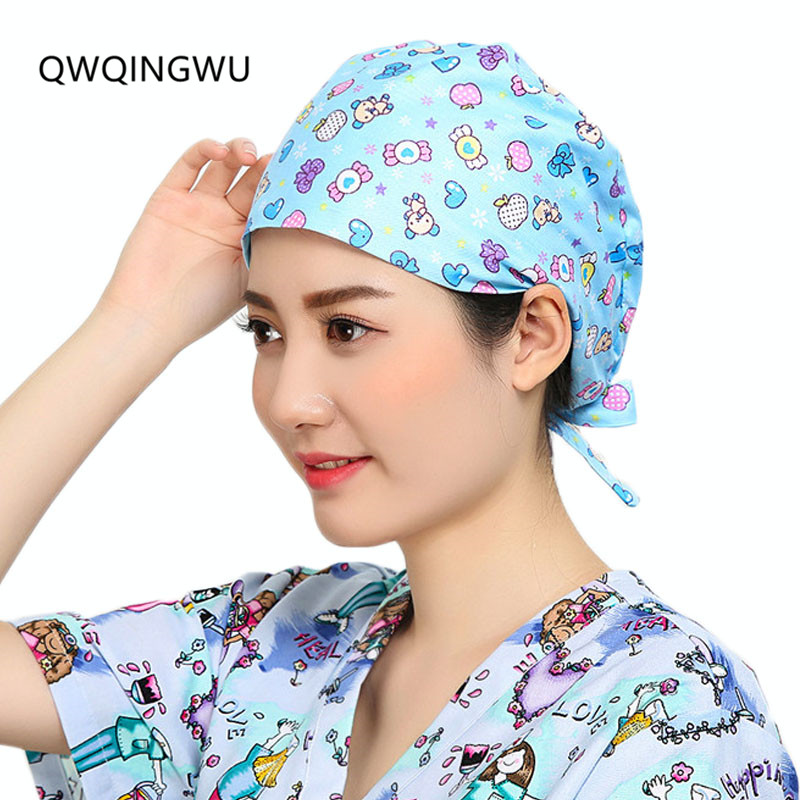 Women Surgical Caps Doctor Nurse Medical Cap Woman Beautician Cap Printing Cotton Dome Scrub Hat Surgical Caps for Doctor Nurse