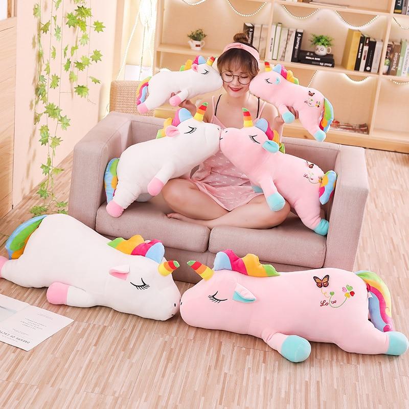 1pc 40-85cm Lovely Rainbow Butterfly Heart Unicorn Plush Toy Soft Kawaii Animal Unicornio Doll for Kids Baby Stuffed Pillow Gift