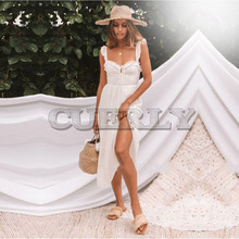 CUERLY 2019 Boho Women dress Strapless Sexy Long dress Lace embroidery Dress White Hollow out Ruffle Spaghetti Strap Vestidos chic hollow out spaghetti strap open back lace spliced dress for women