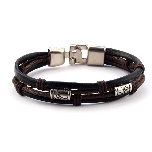 Paylor New Black Brown Gold Color Fashion Latin Rope Chain Leather Bracelet And Hide Metal Buckle Retro Bracelets Man Men Gift