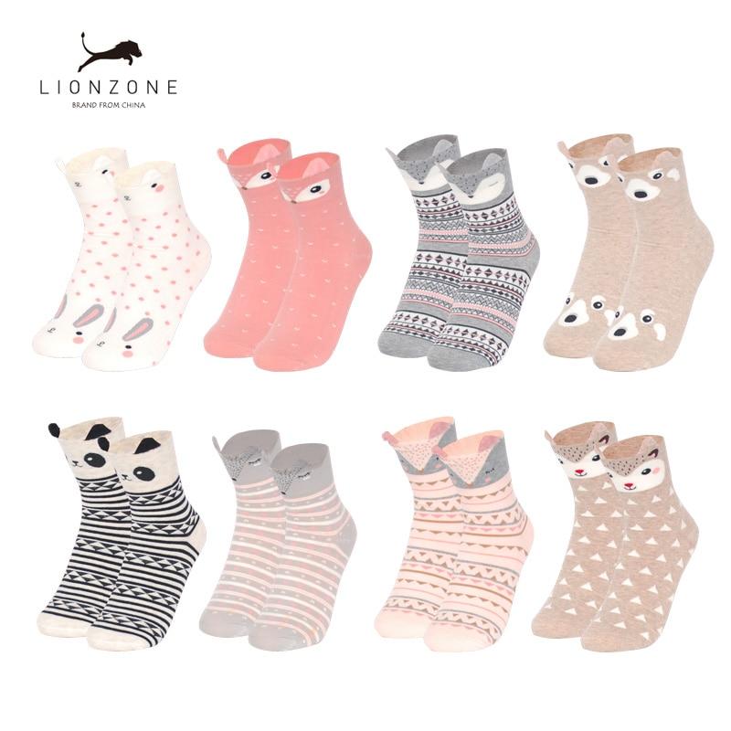 Trend Mark Kawaii Womens 3d Animal Ankle Socks Cute Japanese Women Panda Bear,fox,dee Giraffe Cartoon Cotton Socks 4pairs/lot Discounts Sale Women's Socks & Hosiery