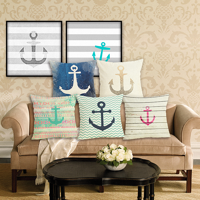 RECOLOUR  Anchor Pattern Marine Printed Pillow cover Sofa Cushion Cover Home decor cojines decorativos para sofa 45X45cm