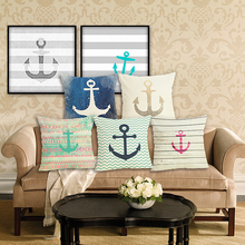 RECOLOUR  Anchor Pattern Marine Printed Pillow cover Sofa Cushion Cover Home decor cojines decorativos para sofa 45X45cm