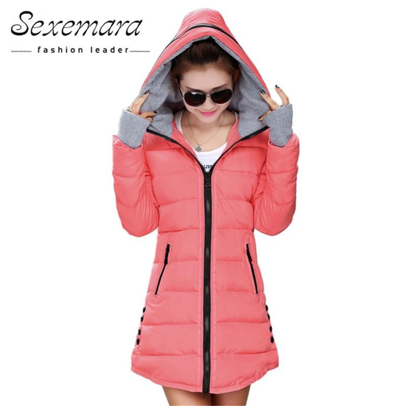 12 Warna Wanita Plus Ukuran Perempuan Hoodie Berkerudung Musim Gugur Musim Dingin Lengan Panjang Bawah Parka Slim Kasual Quilted Chaquetas Jacket Coat