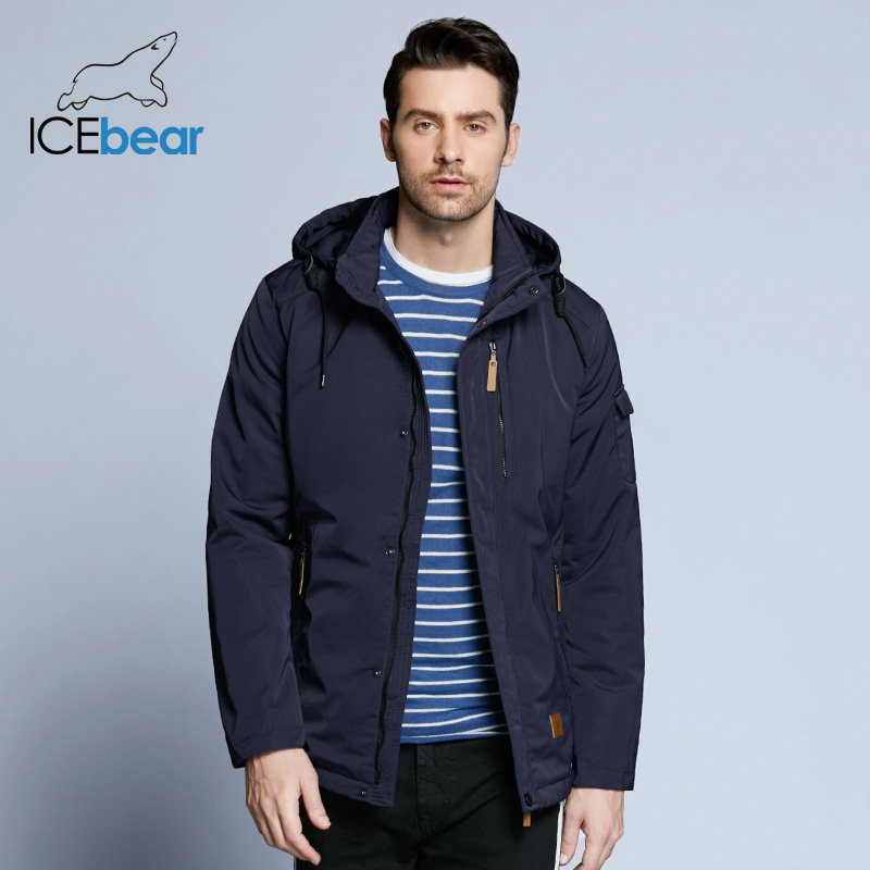 Icebear Pocket Zipper Design Men Jacket Spring Autumn New Arrival Casual Fashion Parka Solid Thin Cotton Coat 17mc010d