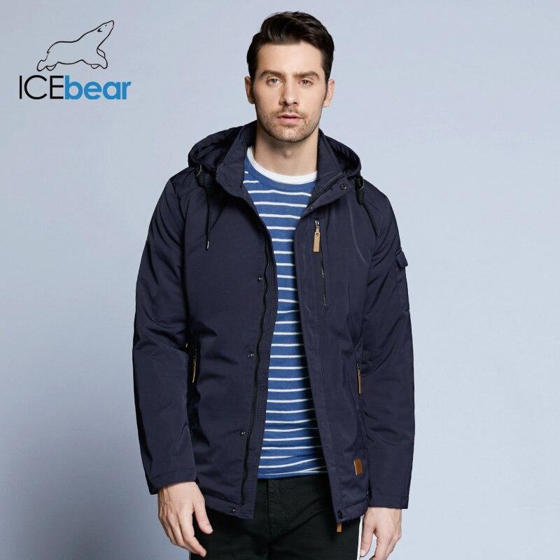 ICEbear 2019 Pocket Zipper Design Men Jacket Spring New Arrival Casual Fashion   Parka   Solid Thin Cotton Coat 17MC010D