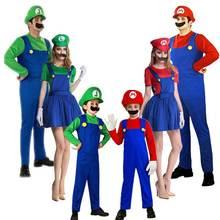 Костюмы Супер Марио для косплея для взрослых и детей, забавные костюмы Супер Марио, Луиджи, брат, девочки, фантазия, косплей, комбинезон, рождественские, вечерние