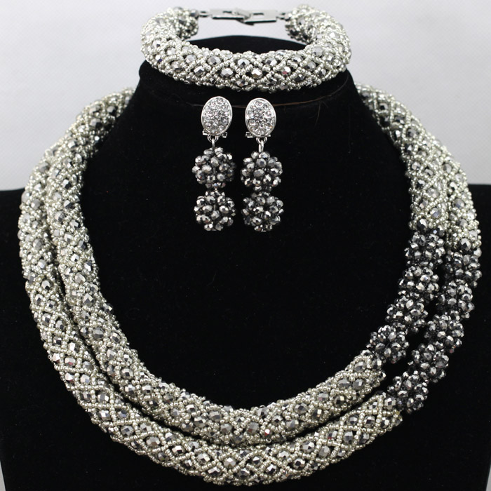 Metallic Silver Crystal Rhinestone Costume Jewellery Set Bridal Indian Women Necklace Set 2016 Free Shipping WA532