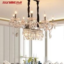 купить Modern LED Crystal Chandeliers Ceiling Square Hanging Lamp For Living room Bedroom Kitchen Glass Crystals Chandelier Lighting дешево
