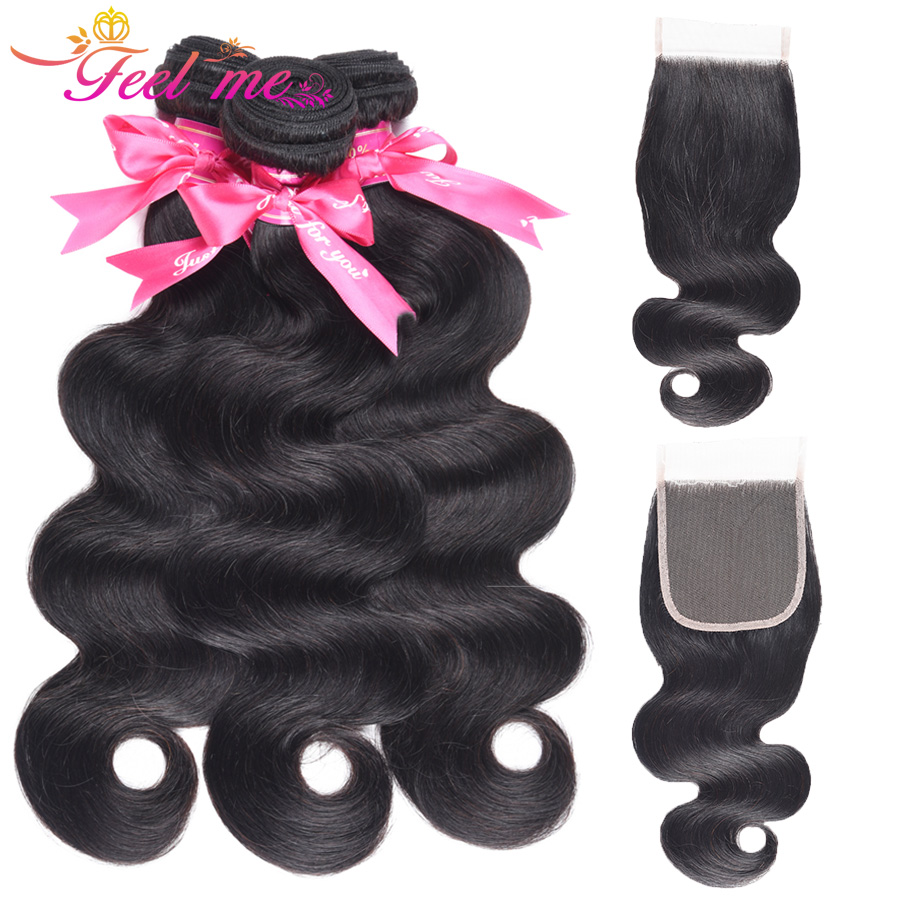 Feel Me Brazilian Body Wave 3 Bundles With Closure 100% Human Hair Bundles Free Part Lace Closure With Non Remy Hair Weave