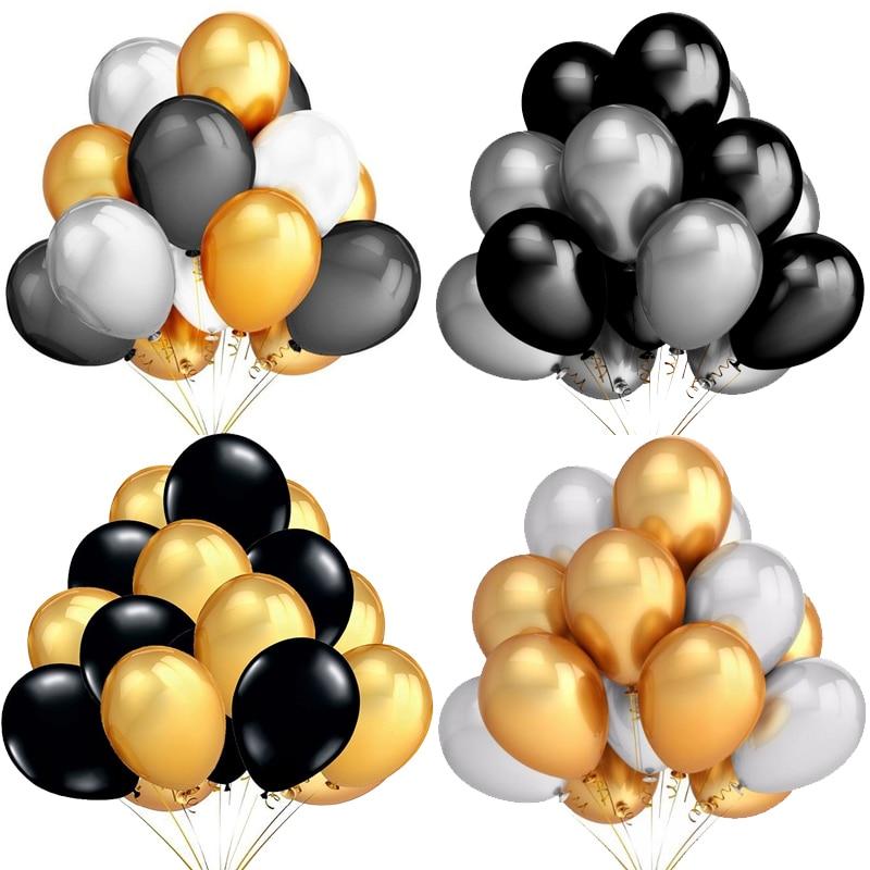 1,8 g hēlija pērle, lateksa baloni, melni balti un sudrabaini, - Svētku piederumi