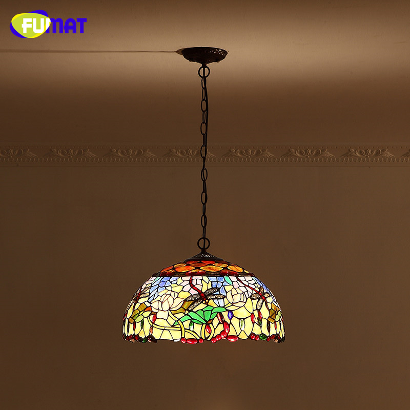FUMAT Stained Glass Pendant Lamp European Style Glass Art  Lights Living Room Dining Room Classic Lamp Tiffany Dragonfly & Rose  tiffany suspension lamp art stained glass rose lamp living room restaurant european style tiffany pendant lights