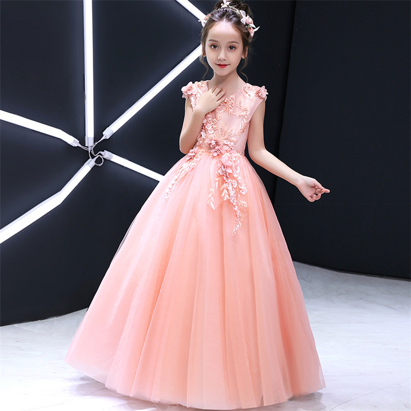 Model Show Costume Long Dress Children Girls luxuryPink Color Birthday Wedding Party Long Prom Dress First Communication DressModel Show Costume Long Dress Children Girls luxuryPink Color Birthday Wedding Party Long Prom Dress First Communication Dress