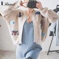 Rugod feito versão coreana mulheres 2017 cardigan casual camisola de malha cardigans casacos de outono inverno de manga comprida elegante fêmea
