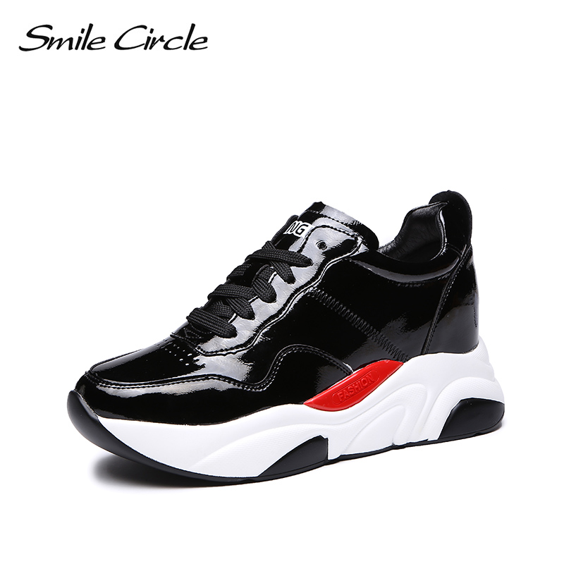 Smile Circle women shoes Flat platform sneakers Fashion Lace-up waterproof Shoes Ladies White Sneakers casual chunky shoes smile circle spring autumn women shoes casual sneakers for women fashion lace up flat platform shoes thick bottom sneakers