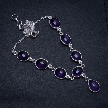 "Natural Amethyst Handmade Boho 925 Sterling Silver Y-Shaped Necklace 17.25"" S3448"