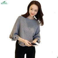Knitwear Women S Spring New 2017 Korean Style Low Sleeve Collar Shawl Large Size Outerwear Sweater