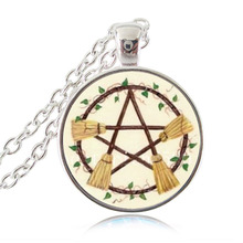 Wicca Broom Pentagram Necklace Pentacle Pendant Wiccan Witch Jewelry Glass Cabochon Silver Statement Long Chain Necklace HZ1