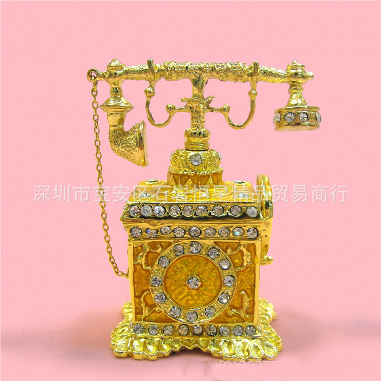 European Chinese style Metal enamel painted crafts Antique phone model, home decoration desktop ornaments(A525)