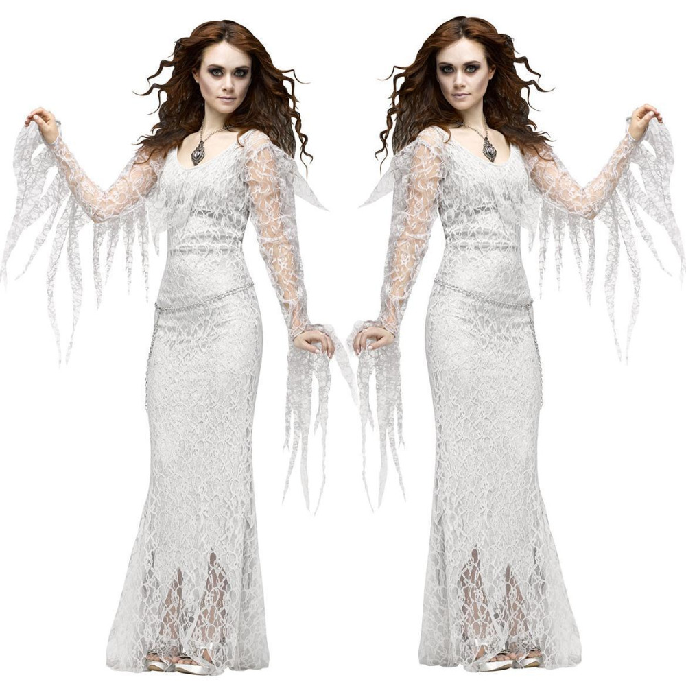 Halloween White Tree Demon Plays Uniform Woman Fantasia Party Stage Performance Cosplay Fancy Dress Vampire Ghost Bride Costume