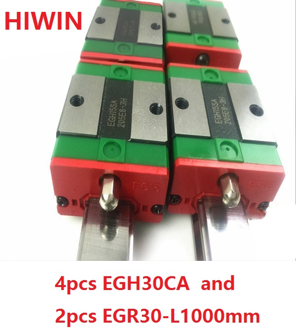 2pcs 100% original HIWIN linear guide rail EGR30 -L 1000mm + 4pcs EGH30CA linear block for CNC router 2pcs 100% original hiwin linear guide rail egr30 l 1800mm 4pcs egh30ca linear block cnc router