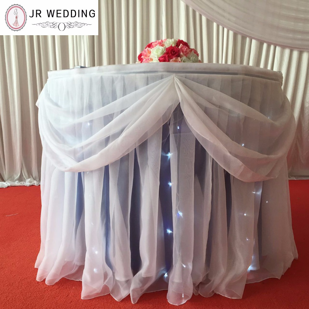 White Voile Fantastic Beautiful Top Grade Without Led Light Pleated With  Swag Table Skirt  In Table Skirts From Home U0026 Garden On Aliexpress.com |  Alibaba ...