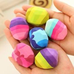 Kawaii красочные камень форма ластик гуси в мягкой резиновой ластики нерегулярные рок большой ручка ластик канцелярские принадлежности для