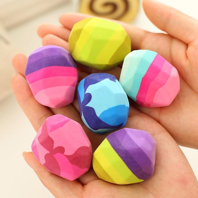 Kawaii цветными камнями Форма ластик гуси в мягкой резинки нерегулярные Форма рок большой ластика студент канцелярские принадлежности
