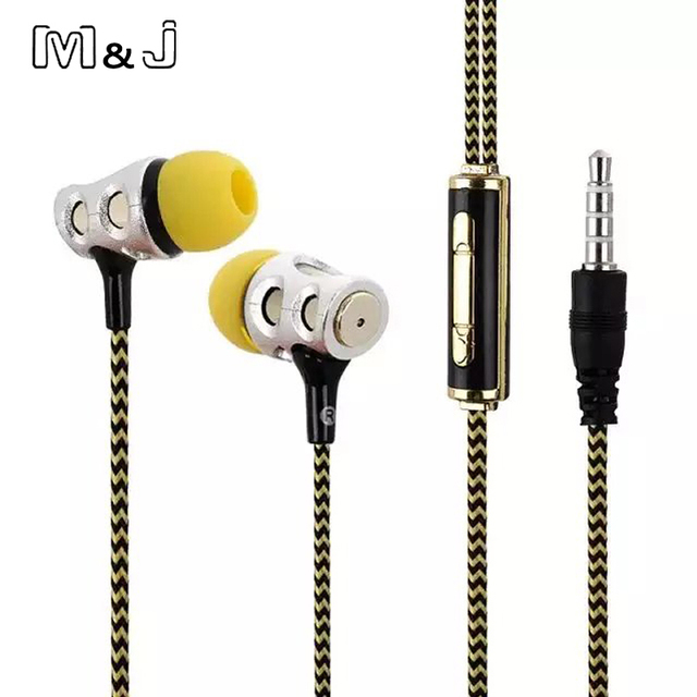 Headset Music Super Deep Earbud With Microphone For PC iPhone Samsung M&J In Ear Skull Earphone Bass Studio Monitor Stereo