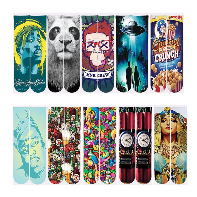 2018 Harajuku Socks Men/Women Casual Ankle Socks Polyester Cotton 3d Print 2Pac Tupac/Lion/Monkey/Spacecraft Funny Ankle Socks