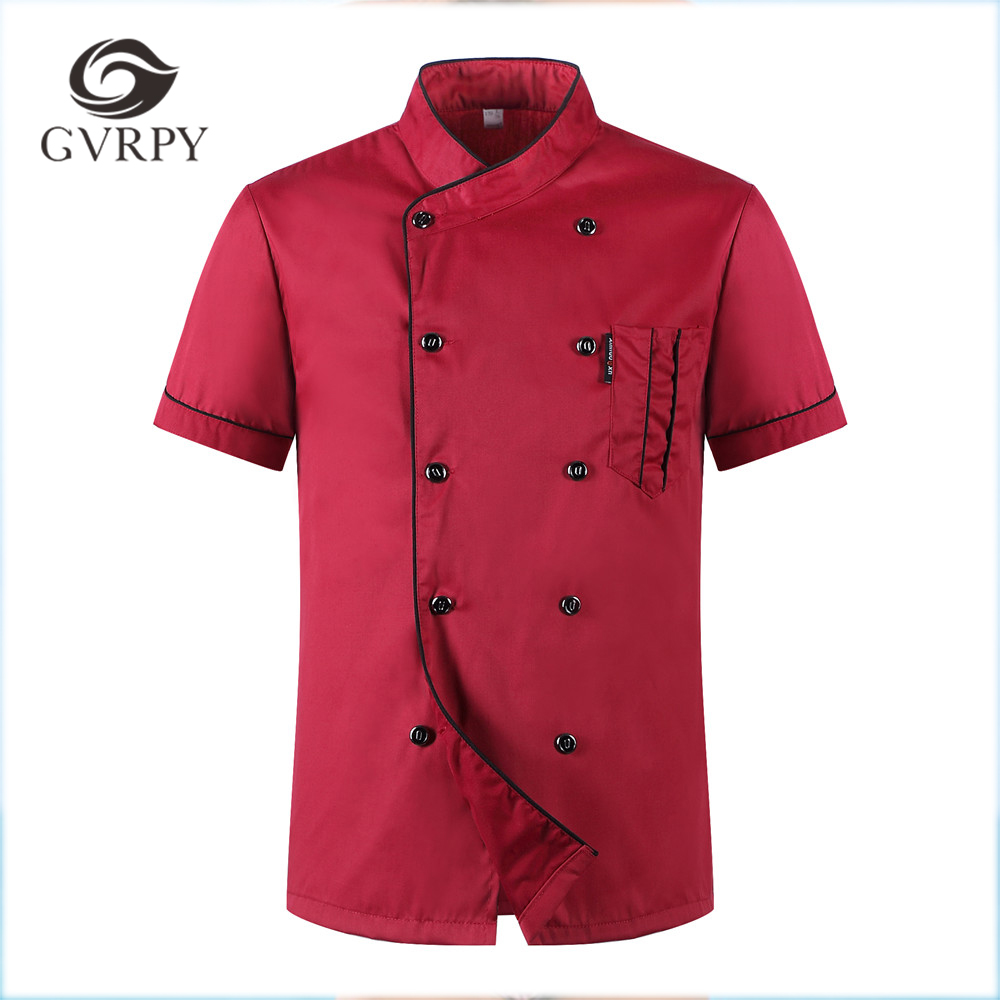 2018 Women Mens Short-sleeved Double Breasted Breathable Kitchen Workwear Chef Jackets Catering Restaurant Food Service Uniforms