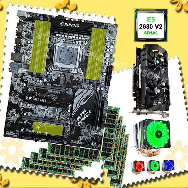 US $1335 0 |Best brand X79 motherboard combo for gaming PC Intel Xeon E5  2680 V2 SR1A6 CPU cooler 8*16G 1600MHz RECC Video card GTX1050Ti 4G-in