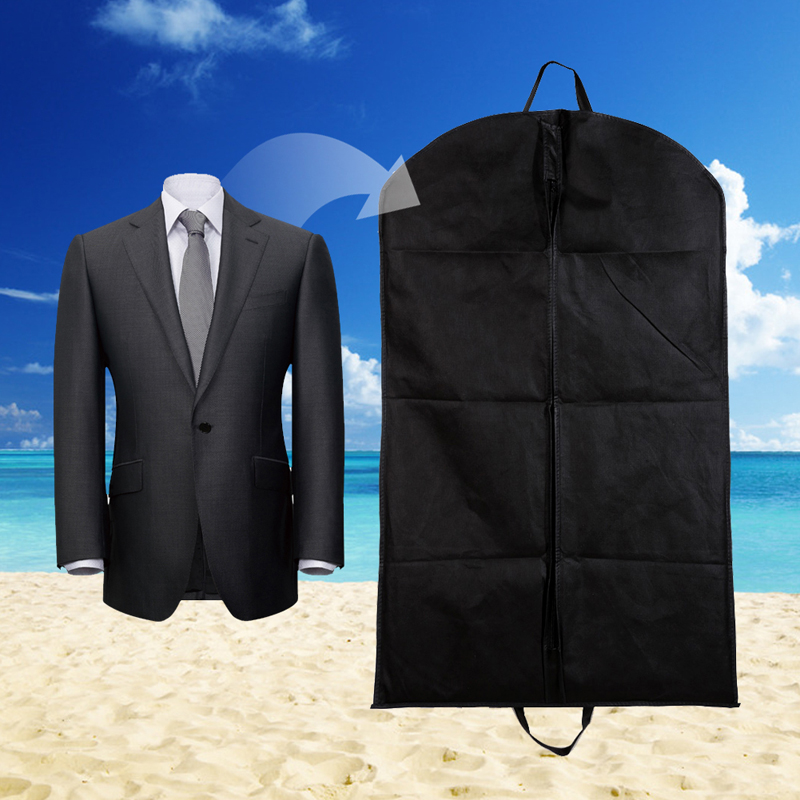 black garment suit coat dust cover protector wardrobe storage bag non woven fabric household dustproof hanger