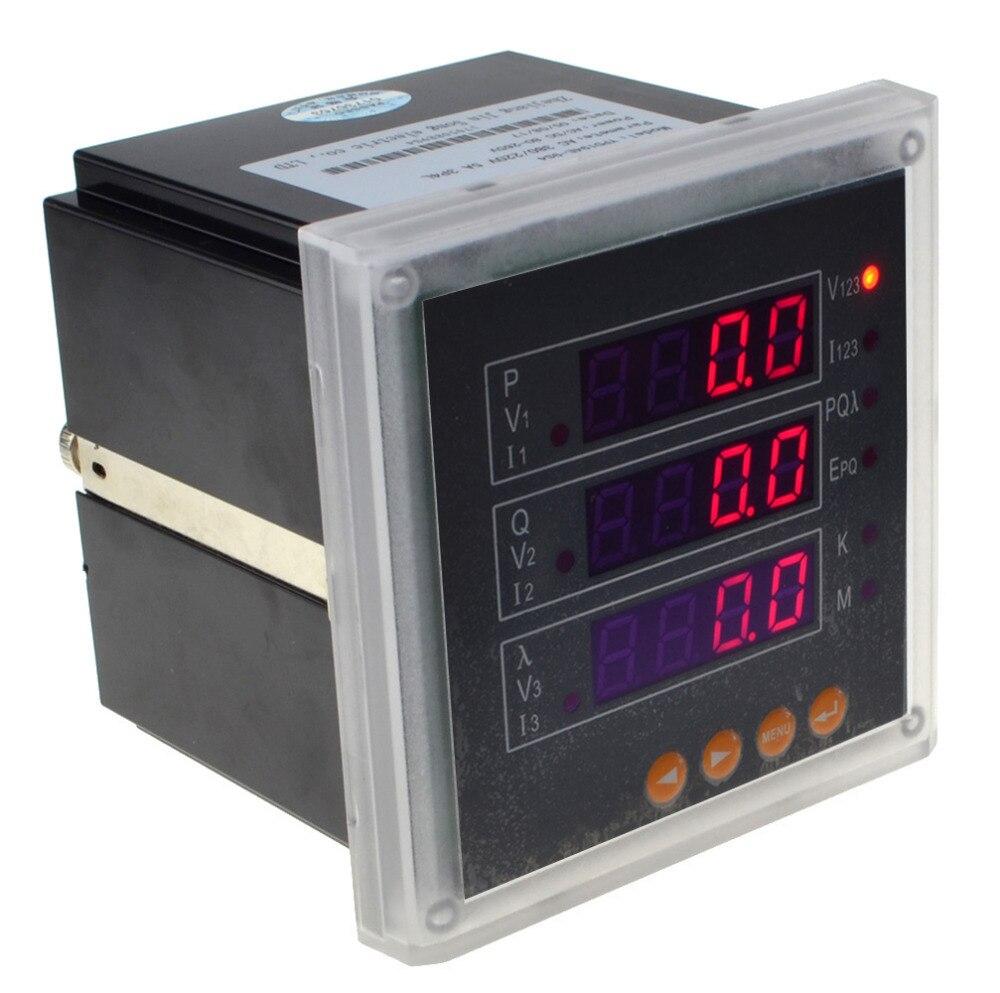 3P Three Phase LED Digital Multifunction Electricity Meter V A P Q Hz Kwh KVarh K