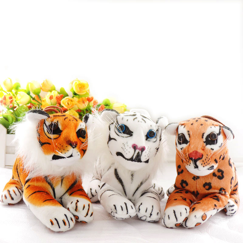 Small Plush Pendants Car Decor Dolls Stuffed Simulation Animals Tiger Tigeress Leopards Big-Cat Animal Toys Children Kids Gifts lps pet shop toys rare black little cat blue eyes animal models patrulla canina action figures kids toys gift cat free shipping