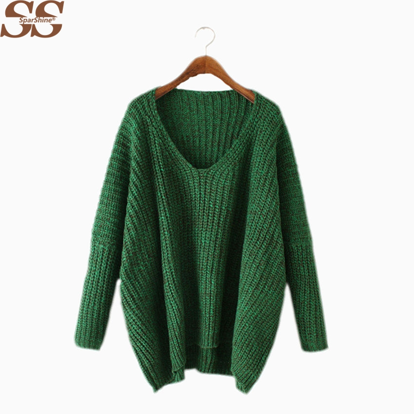 Women Sweaters And Pullovers 2017 Winter Batwing Long Sleeve Vneck Casual Pull Femme Christmas Sweater women Knitting Tops