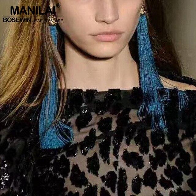 MANILAI 10 couleurs bohême longues glands boucles d'oreilles pour femmes mode déclaration Dangle boucles d'oreilles bijoux ethniques grande vente pas cher prix