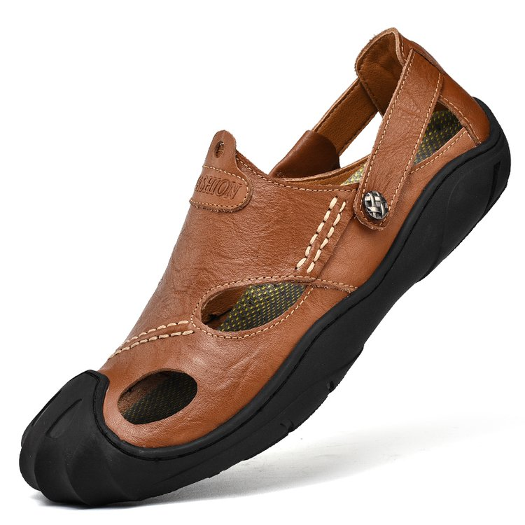 Masculina 2019 Sandales Confortable kaki marron 46 Adulte Noir Shose En Cuir 38 Plage Sandalia Mâle Air Pour Plein Hommes Chaussures D'été rYCqr