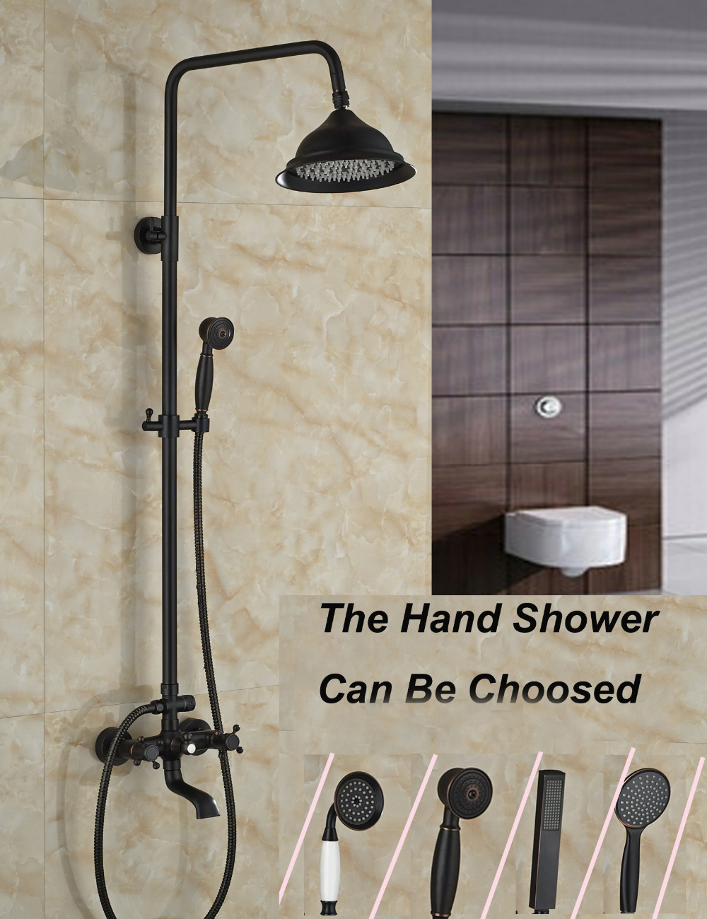 Wholesale And Retail Wall Mounted Oil Rubbed Bronze Rain Shower Faucet Set + Hand Sprayer + Tub Mixer Tap Spout