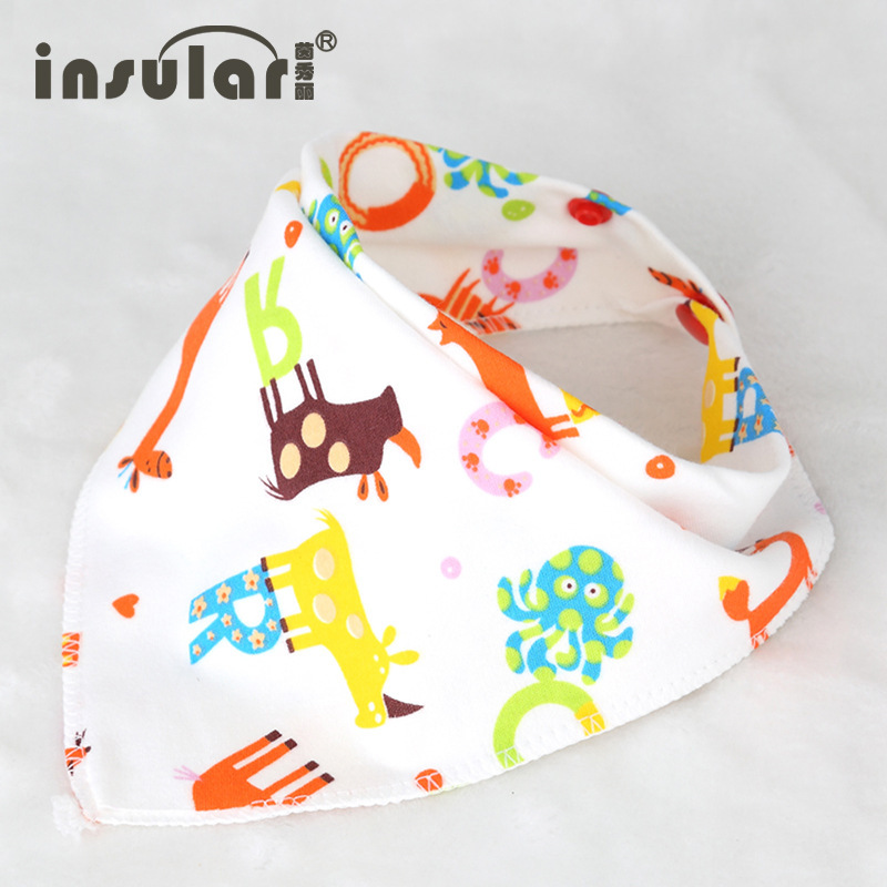 mother and baby products, cotton triangle towel, baby cartoon cartoon, mouth towel, baby bib, bib headscarf factory