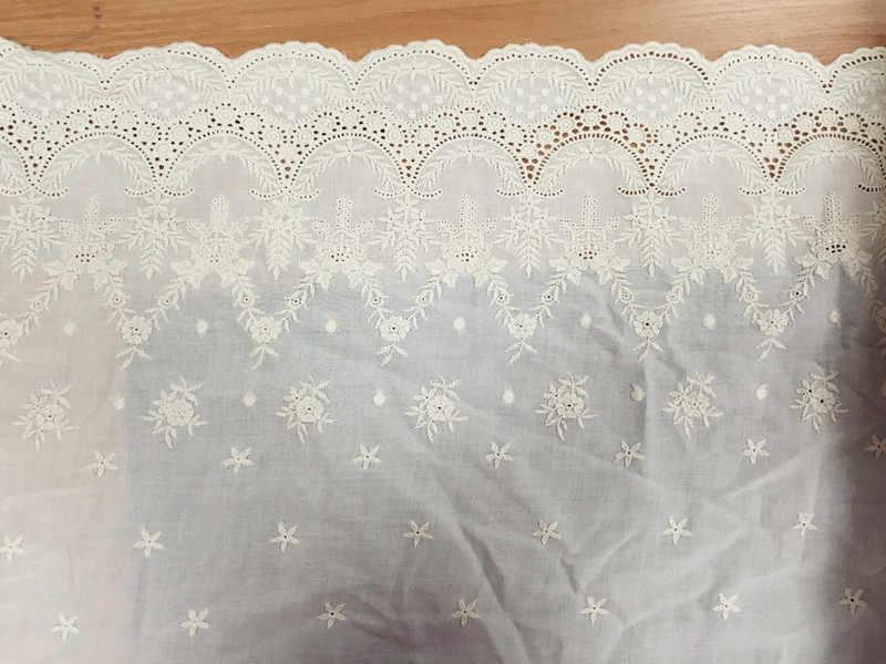 1 ярд красивый бежевый/белый супер нежно 100% кружево из хлопка с вышивкой фабричное кружево отделочный кружевной материал ширина 43 см