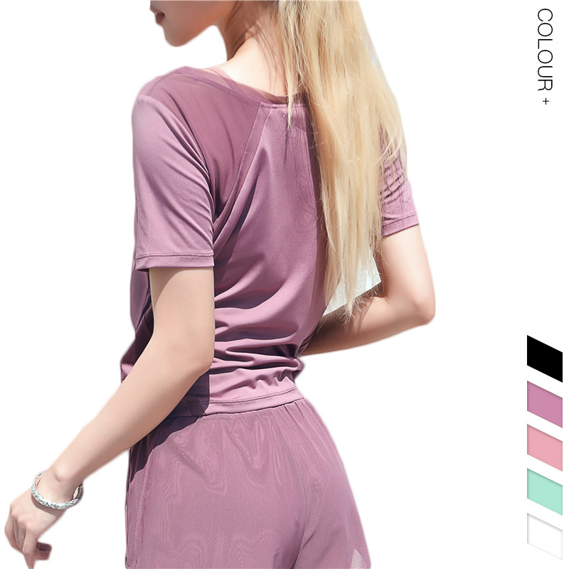 ✔  5-цветная женская сетка сшитая свободная одежда для йоги дышащая быстросохнущая спортивная форма с к ①