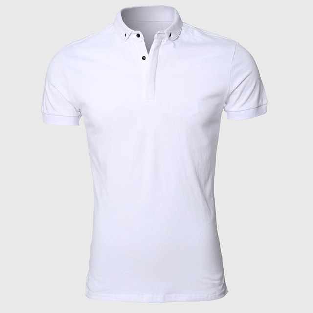White Men Polo Shirt Pattern Slim Fit Turn Down Types Collars Work Clothing Luxury Classic Plain Classic Breathable