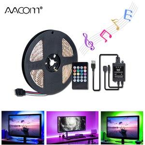1 м, 2 м, 3 м, 4 м, 5 м, RGB ночное освещение с музыкальным датчиком, контроллер SMD 5050, 60 светодиодов/м, Диодная лента, лампа, ТВ, ПК, подсветка экрана
