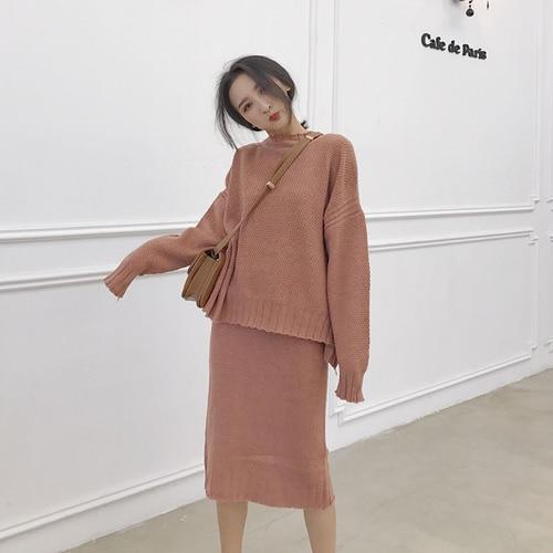 a91dc3324935 Korean 2 Piece Set Women Turtleneck Long Batwing Sleeve Crop Top And Skirt  Set Shirt + Split Wrap Hip ...