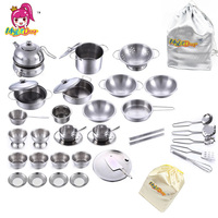 40pcs Stainless Steel Kitchen Cooking Utensils Pots Pans Food Gift Mini Kitchen Cook Tools Simulation Play