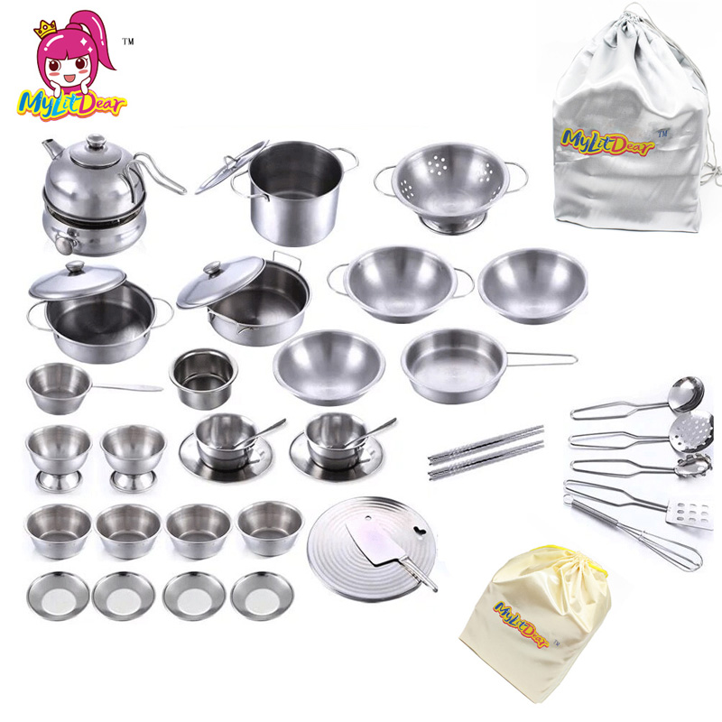 Us 25 75 49 Off 40pcs Stainless Steel Kitchen Cooking Utensils Pots Pans Food Gift Mini Kitchen Cook Tools Simulation Play House Toys Gift Bag In